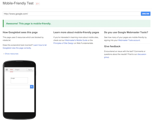 Google check Mobile Friendly