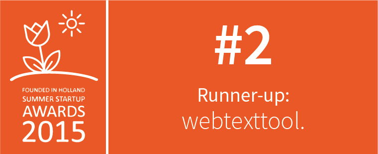 Webtexttool Runner-up in Founded In Holland Summer Startup Awards 2015!