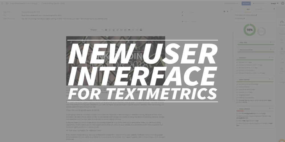 New user interface for Textmetrics
