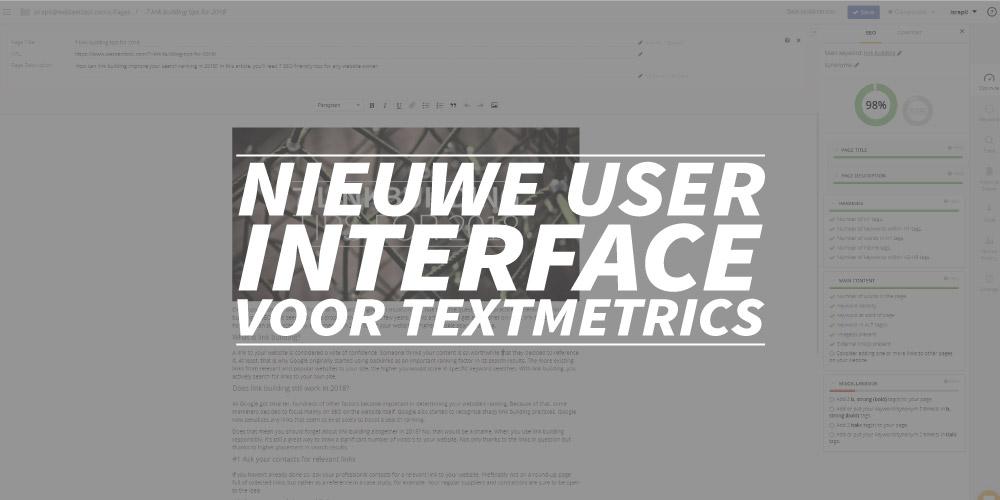 Nieuwe user interface voor Textmetrics