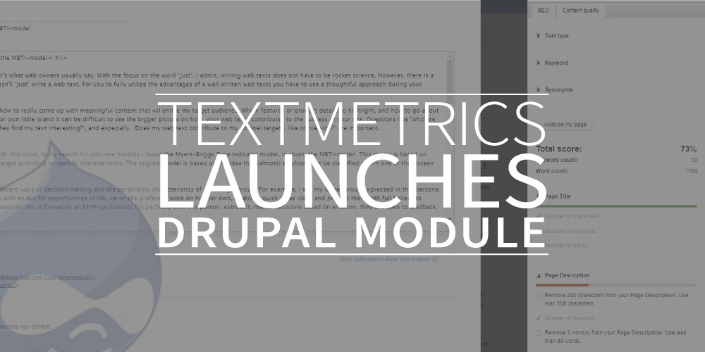 Textmetrics launches Drupal module