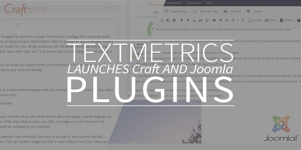 Textmetrics launches Craft and Joomla plugins