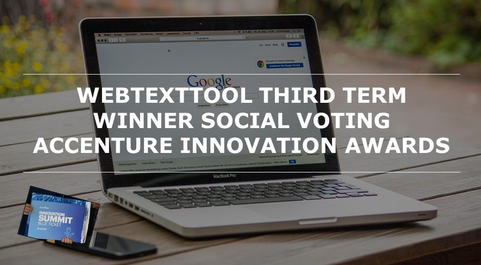 Webtexttool third term winner social voting Accenture Innovation Awards