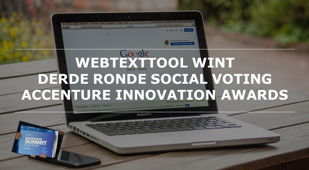 Webtexttool wint 3e ronde social voting Accenture Innovation Awards