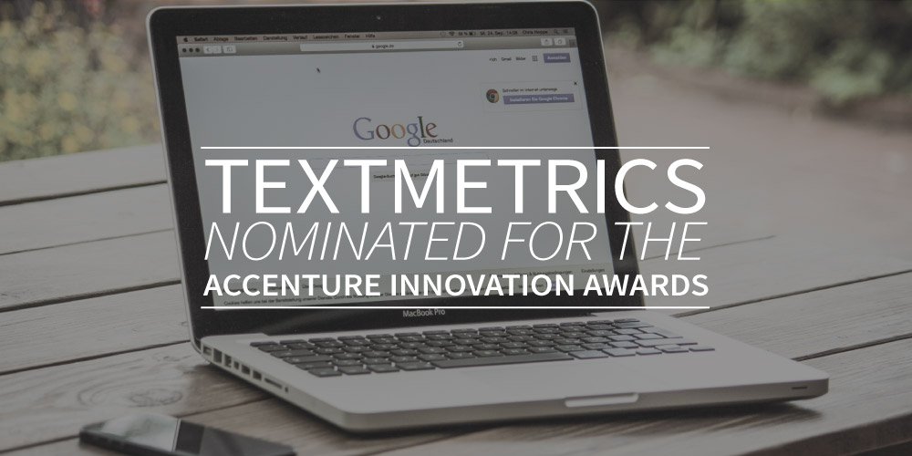 Textmetrics has been nominated for the Accenture Innovation Awards