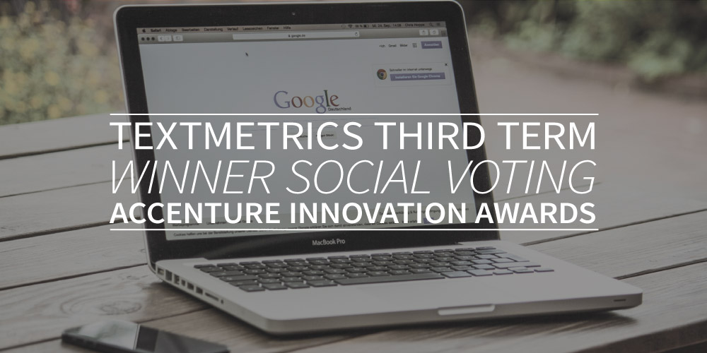 Textmetrics third term winner social voting Accenture Innovation Awards