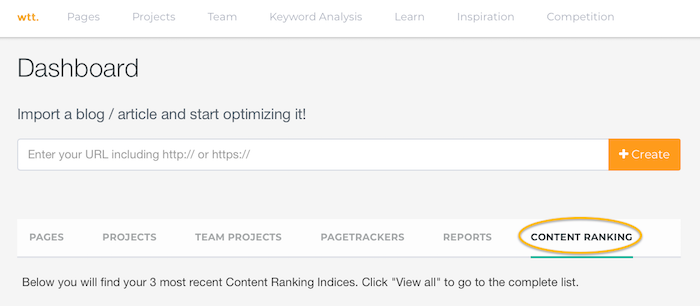 Content Ranking Index webtexttool