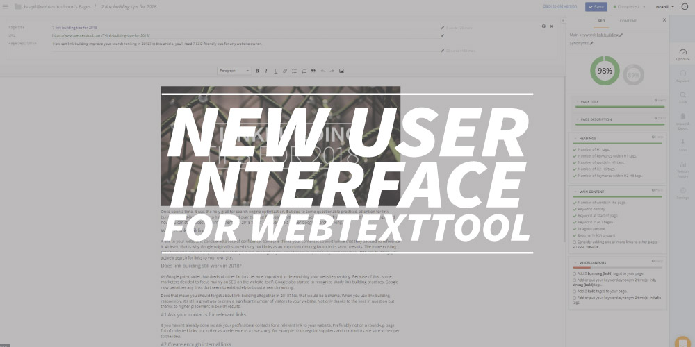 New user interface for webtexttool