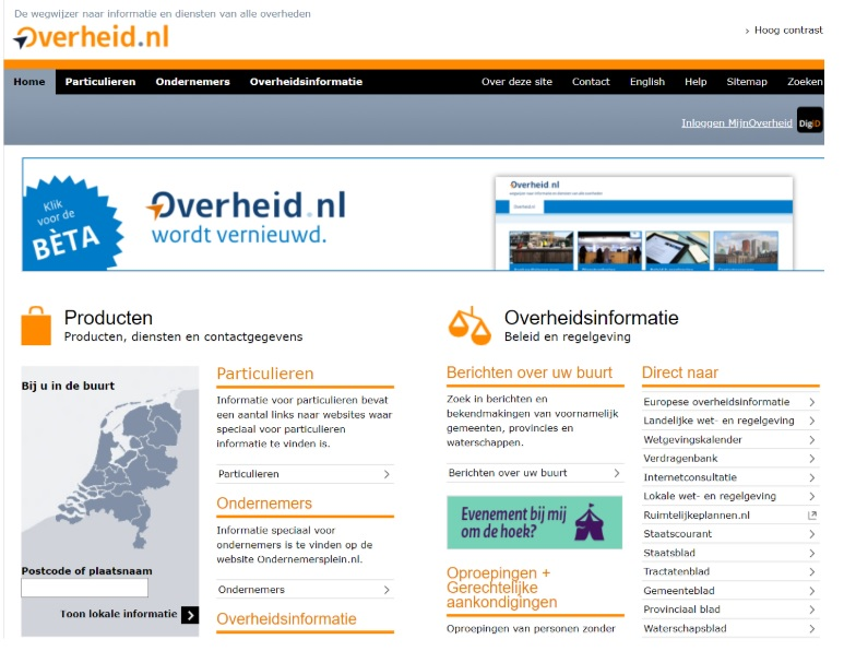 Dutch government website