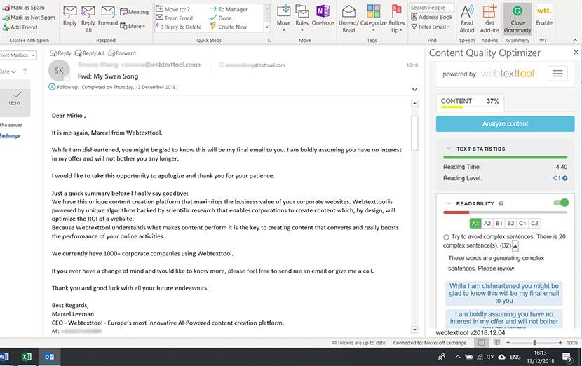 Outlook plugin door Textmetrics: Verhoog de impact van uw content