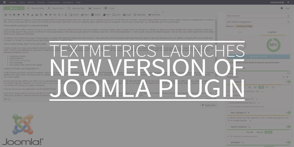 Textmetrics launches new version of Joomla plugin