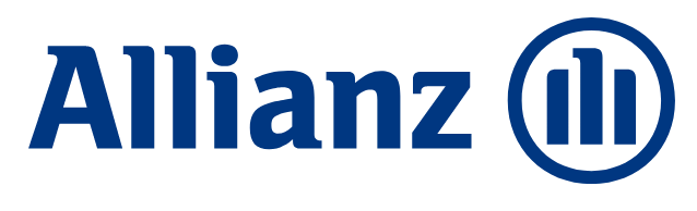 Blue text spelling out Allianz followed with a circle that contains three lines, middle line is slightly taller and bent at the top.