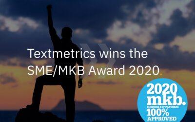 Textmetrics wins SME/MKB Award 2020