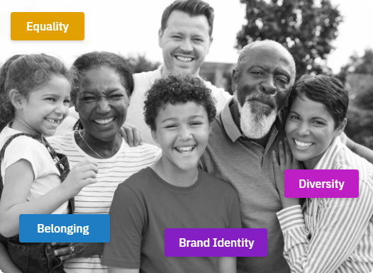 Picture of  people of different ethnicities, smiling at the camera. Four coloured boxes with text are spread around the image as well. The text reads: Equality, Belonging, Brand Identity, and Diversity.