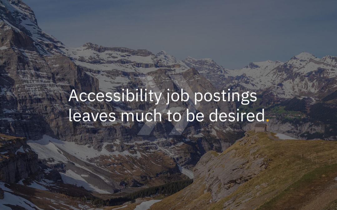 Accessibility job postings leaves much to be desired